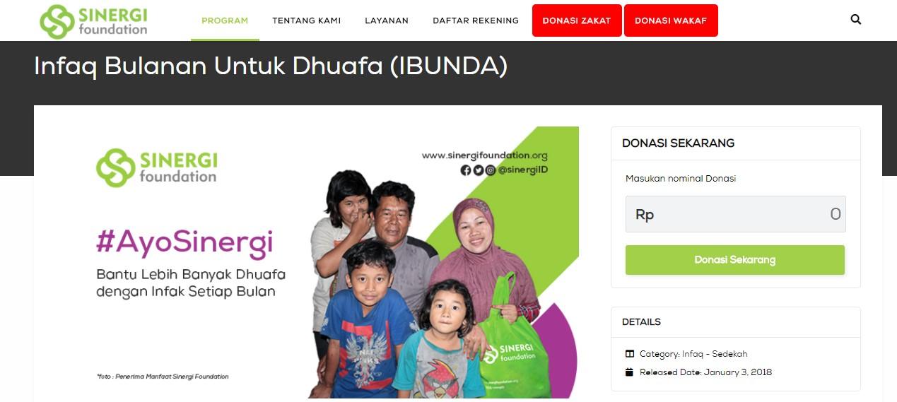Infak bulanan Sinergi Foundation